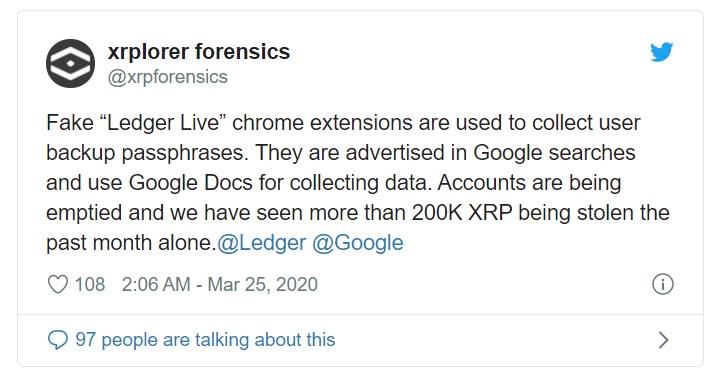 谷歌扩展程序冒用Ledger官方身份,140万XRP已被盗