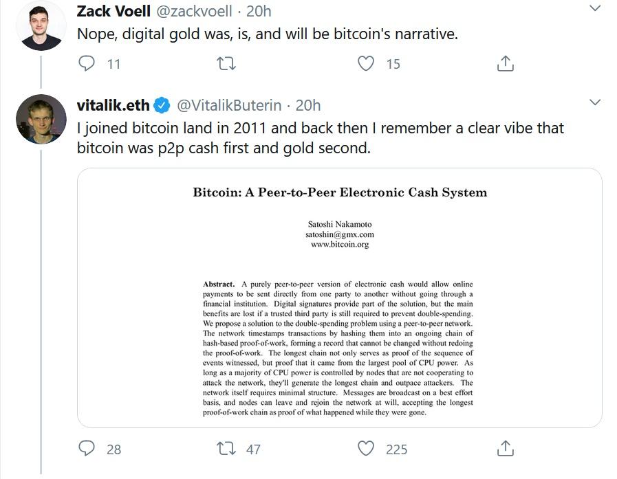 Vitalik与比特币开发者激辩:比特币首先是P2P现金,其次才是数字黄金